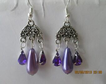 Silver Tone Chandelier Earrings with Purple Pearl Teardrop Beads and Purple Teardrop Crystal Dangles
