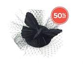 SALE!! Black Feathered Butterfly Black Glitery Base Veiled Fascinator Headpiece