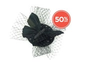 SALE!! Feathered Butterfly Black & White Polka Dot Fabric Base Veiled Fascinator Headpiece
