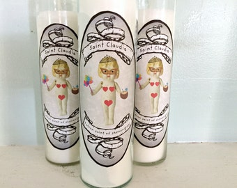Patron Saint of Shenanigans Candle Claudia Doll Gag Gift Sanctuary Candles 7 Day