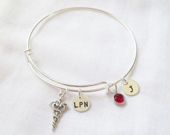 Personalized Nurse Bracelet (LEAVE INITIAL in NOTE) -- Sterling Silver, Personalized, Medical Symbol, Nurse/Doctor -- Made to Order