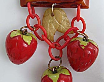 Bakelite Strawberry Brooch, Carved Bakelite Log, Dangling Carved Berries, Red Celluloid Chain, Yellow Leaves