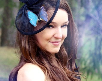 Butterflies fascinator hair accessories, ethically sourced real butterfly hair clips, fascinator hat, Butterflies barrette derby fascinator