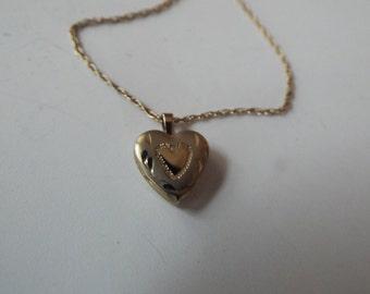 """vintage 14K gold filled heart locket necklace 18"""" gold filled chain"""