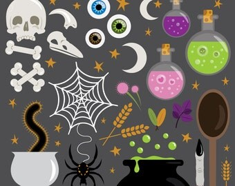 Witches Kitchen Clip Art | Magic Witchcraft Halloween Magic Kitchen Design | Digital Illustration Stock Icons | Personal or Commercial Use