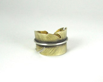 Feather ring - brass, copper or sterling silver - unisex - handmade - adjustable