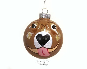 Brindle Pit Bull Ornament Hand Painted Made to Order