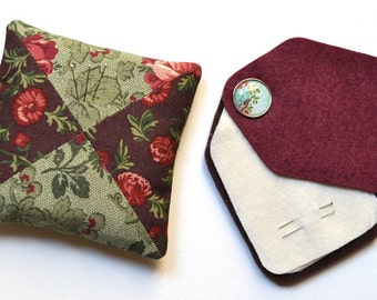 Set with Needle Case and Pin Cushion - Fabric and Felt - Handmade