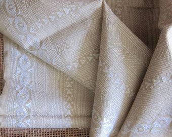 Kantha- Tussar Unbleached beige and ivory embroidery - 1