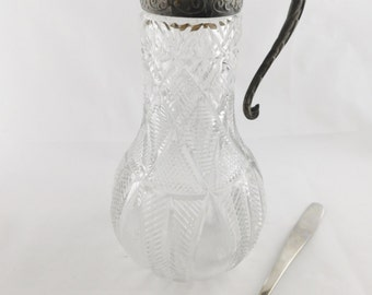 Pitcher with Silver Plated Hinged Lid, Serving Pitcher, Decanter, Vintage Glass Pitcher