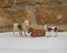 Miniature Cow Figurines Set of 3 Instant Collection of Calf and Cows Made in England J. Hill Farm Animal Terrarium Decor Lead Figurine Toy