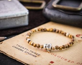4mm - Brown Jasper stone beaded stretchy Buddha bracelet, made to order bracelet, mens bracelet, mens beaded bracelet