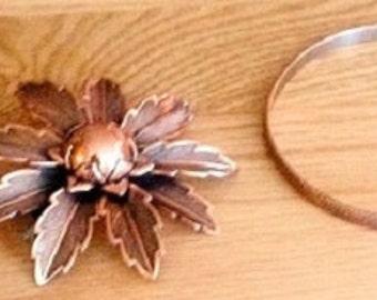 Vintage Copper Jewelry Set of 3, bracelet earrings brooch solid copper, hammered copper bangle, pierced dangle earrings, flower petal pin