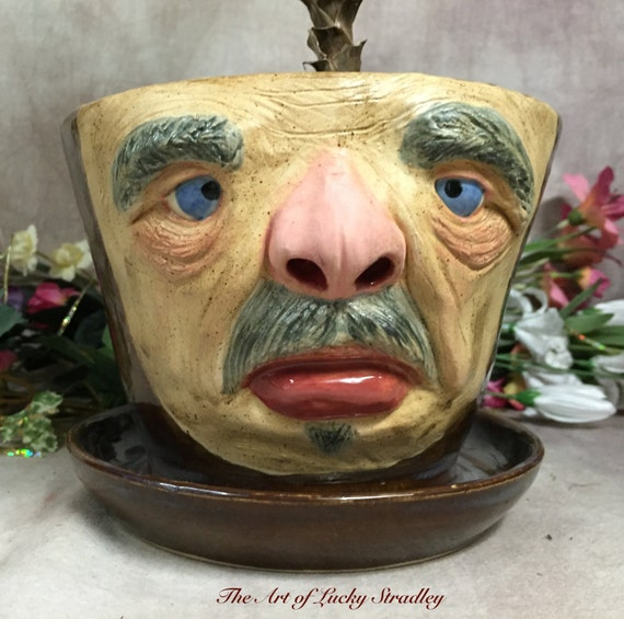 PLANTER - Wheel thrown, hand altered and sculpted ceramic planter. Just a friendly face to show off your favorite plant. (FP1)