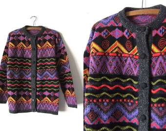 Squiggles Abstract Cardigan Sweater - Coogi Style 90s Hip Hop Zig Zag Long Oversize Jumper - Womens Medium
