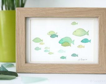 Watercolor Flock of green fishes # 3 - Original painting - Green Kids room wall decor - Nautical Nursery Art, Ocean Art, Nursery Decor