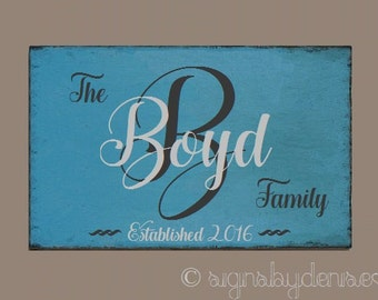 "Family Monogram Sign, Wedding Sign, Family Established Sign - 24"" x 16"" SignsbyDenise"