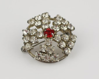 Round 1950s Ladies Diamante Clear and Red Pin Back Brooch