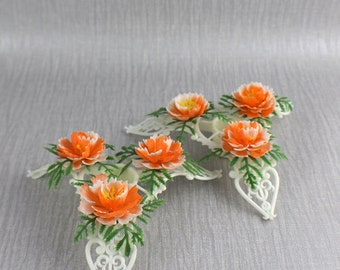 Pair of Decorative Plastic Candle Stick Holders with Orange Flower and Leaf Design
