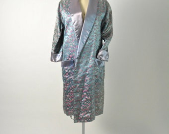 Vintage 1950s 50s Silk Brocade Evening Coat with Shawl Collar Iridescent Satin