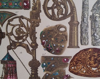 1890s Large Color Print Middle Ages - Works Of Art Of The Franks Hottenroth, Wall Art Deco