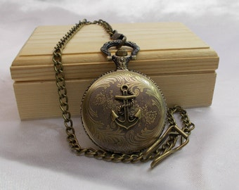Anchor Pocket Watch - In Wood Gift Box - Free Shipping - Pocket Watch with Men's Vest Chain or Necklace - Anchor Pocket Watch in Wood Box