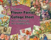 """Flower Fairies Digital Collage Sheet  - 1 Inch Squares and Scrabble Sized .75"""" x .83"""" Printable for Jewelry Mixed Media etc Fairy Squares"""