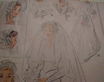 Vintage 1940's McCall Wedding Bridal Caps and Veil Sewing Pattern, One Size