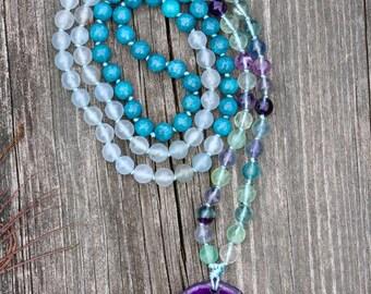 Rainbow Fluorite, Jade & Agate Mala Necklace, Intrinsic Journeys Mala Beads, Mala Beads, Gemstone Mala, Hand Knotted, Prayer Beads