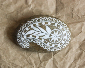 Large Hand painted Stone: Large OOAK Paisley. Mother's Day Gift. Home and Office Decor.