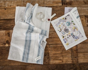 Blue Stripes Cotton Linen - By the Yard 92022