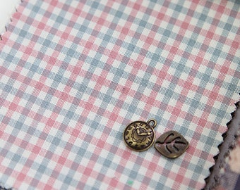 Small Pink Blue Plaid Cotton Fabric, Check Cotton Fabric - Fabric By the Yard 50507