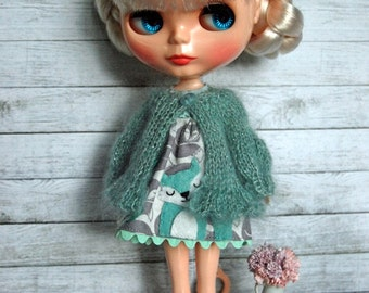 Blythe Doll Knitted Mohair and Silk Blend Puff Sleeve Cardigan