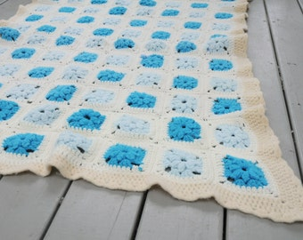 Vintage Afghan Turquoise Throw Cream White