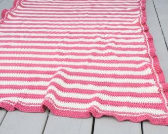 Handmade Baby Afghan Handmade Pink White Stripes