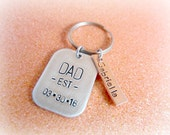 Personalized Dad Keychain - Hand Stamped Father's Day Gift for Dad - Dad est Date - Soon to be Dad - Pregnancy Announcement for New Dad