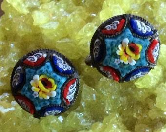 Sale - Vintage Italian Handmade Micro Mosaic Screwback Earrings