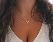 Crescent moon necklace, 14k gold filled, dainty cubic zirconia diamonds, celestial moon necklace, layering necklace