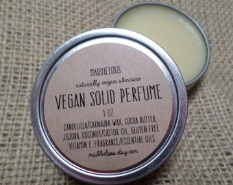 Vegan/Organic SOLID PERFUME-Choose from over 80 Unique Scents-1oz.-No Alcohol,dpg,Phthalates,Nitro Musk & Cruelty-Free