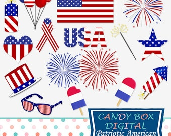 Fourth Of July Clipart, 4th of July Patriotic Clip Art - Commercial Use OK