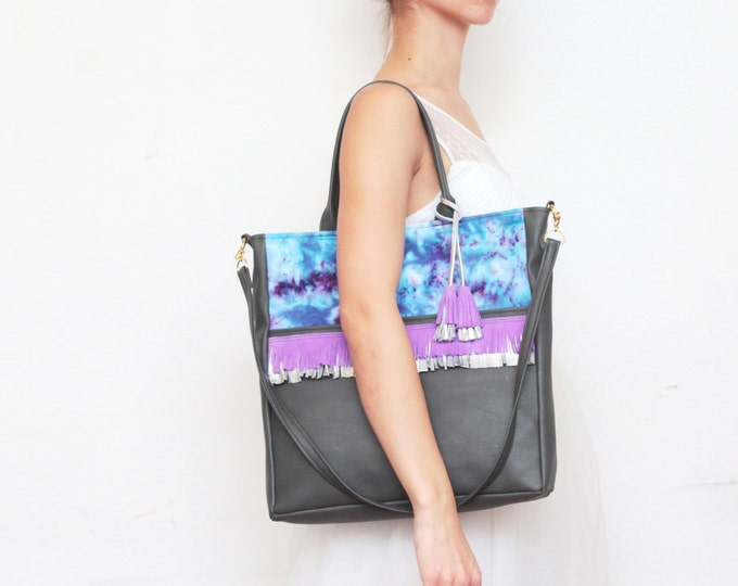 Navy leather tote bag-fringed shoulder purse-tie dyed hand colored-cross body bag-metallic leather tote-navy blue purple silver /FRINGY TOTE