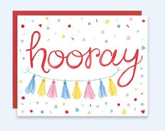 Hooray Greeting Card, Confetti Card, Watercolor Confetti Card, Hooray Congratulations Card, Hooray Greeting Card, Hooray Birthday Card
