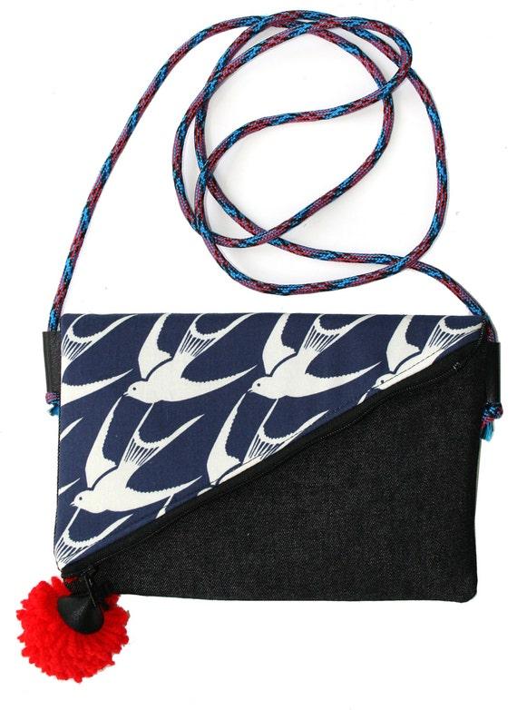 SALE! Sparrows, pom pom, adjustable strap, cross body bag, flat bag
