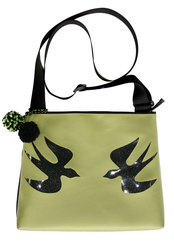 green vinyl, sparkle vinyl, sparrows, black, pom poms, large, cross body bag