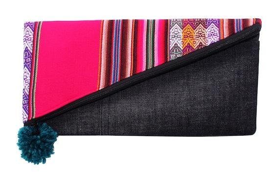 bright pink, fuchsica, Peruvian textile, large clutch
