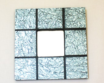 Silver Wall Mirror, Stained Glass Mosaic, Unique Wall Art, Black and Silver, Gray Home Decor, Modern Mirror, Housewarming Gift