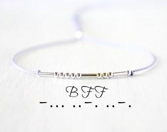 BFF Best Friend Morse Code Bracelet Minimalist Dainty Sterling Silver Jewelry Silk Cord Friendship Bracelet Best Friend Gift