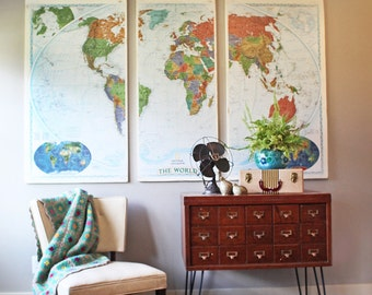 Rustic World Map on Wood, Wall Map Decor, Huge World Map
