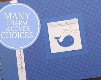 Baby Memory Book Boy   Baby Album Photo Book & Journal   Personalized   Whale   Nautical   Small Blue Polka Dots with Whale Charm