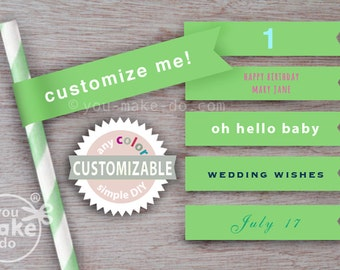 green straws flags green paper straws green baby shower decorations 1st birthday boy custom straw flags straw toppers green wedding straws